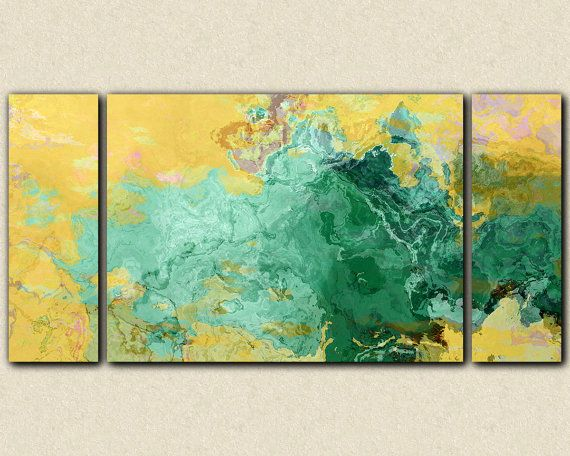 "Large abstract modern art triptych stretched canvas print, 30x60 to 40x78 in turquoise and yellow, from abstract painting ""Oasis"""