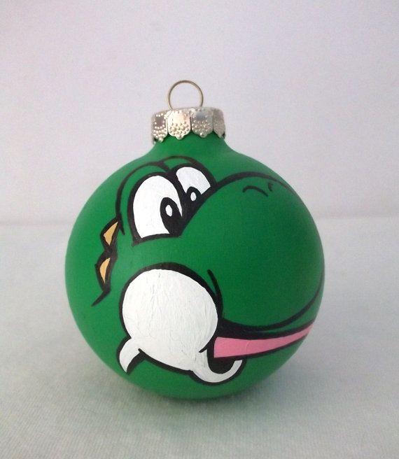 Yoshi Painted Christmas Ornament Super Mario Kart By