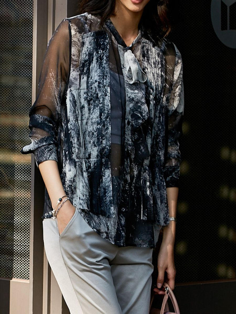 Adorewe stylewe blousesdesigner fantiow black abstract hline
