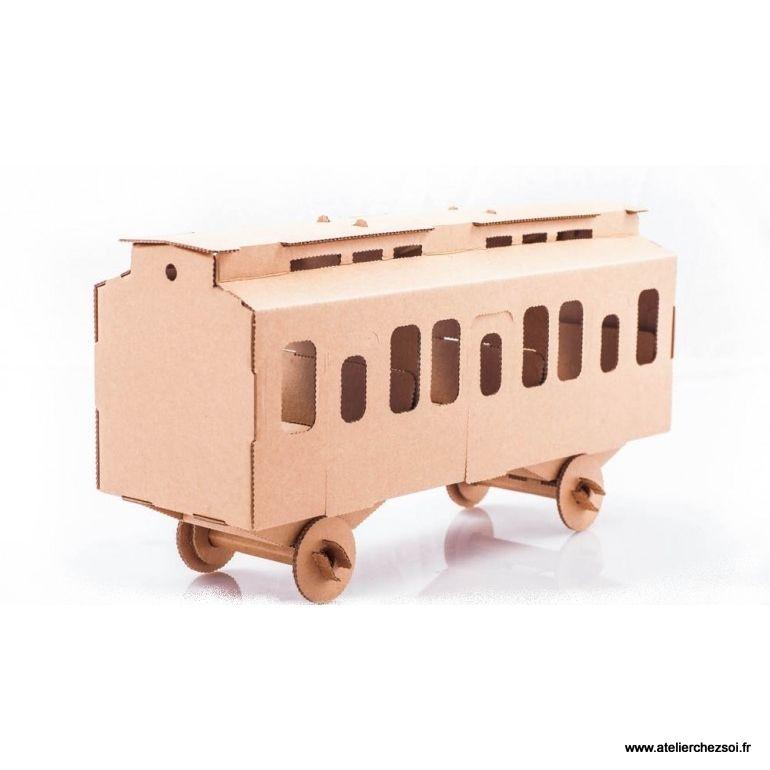 Wagon en carton brun à construire 40cm Maquette Leolandia Card - maquette de maison a construire