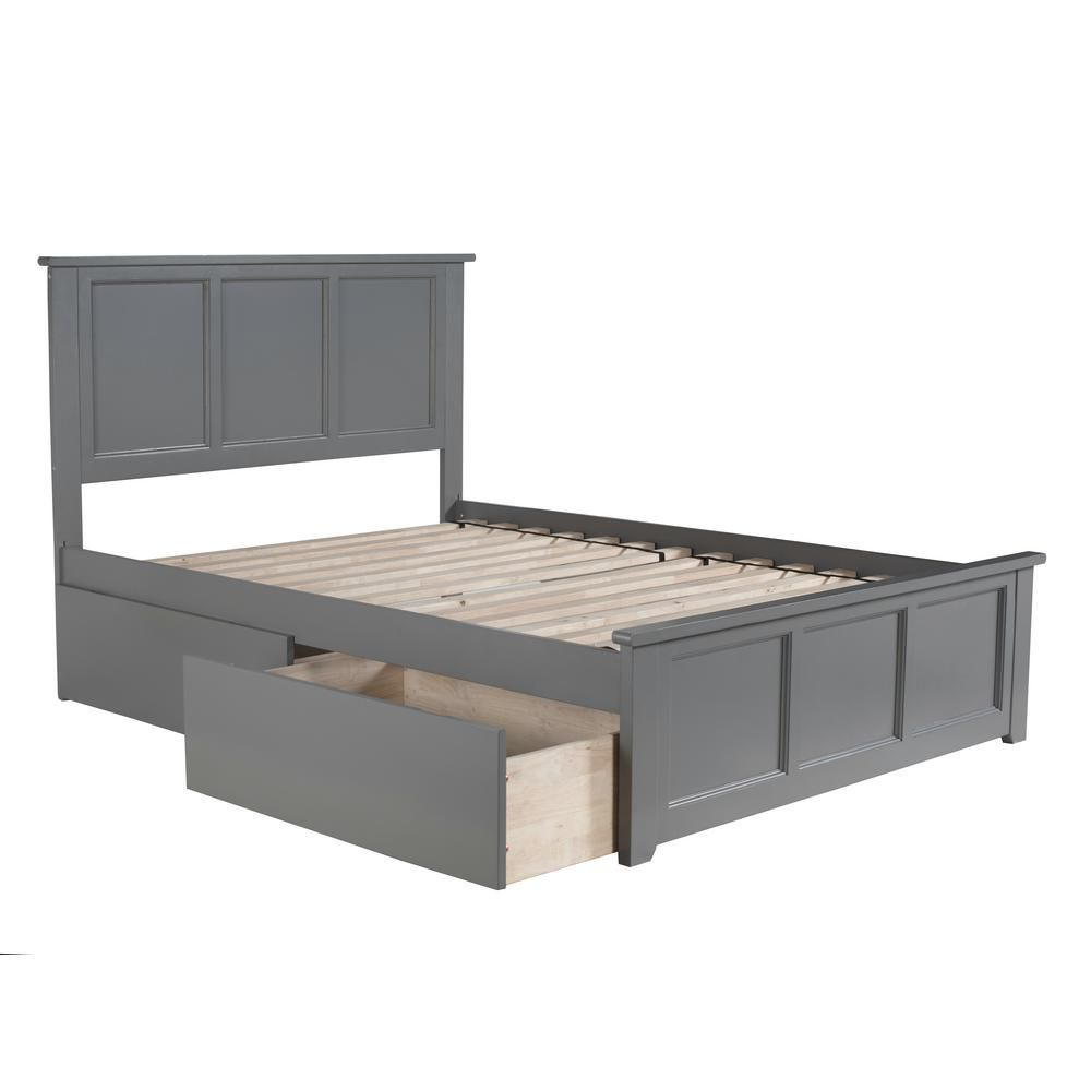 Atlantic Furniture Madison Full Platform Bed With Matching Foot Board With 2 Urban Bed Drawers In Grey Bed With Drawers Full Bed With Storage Bed Frame With Storage