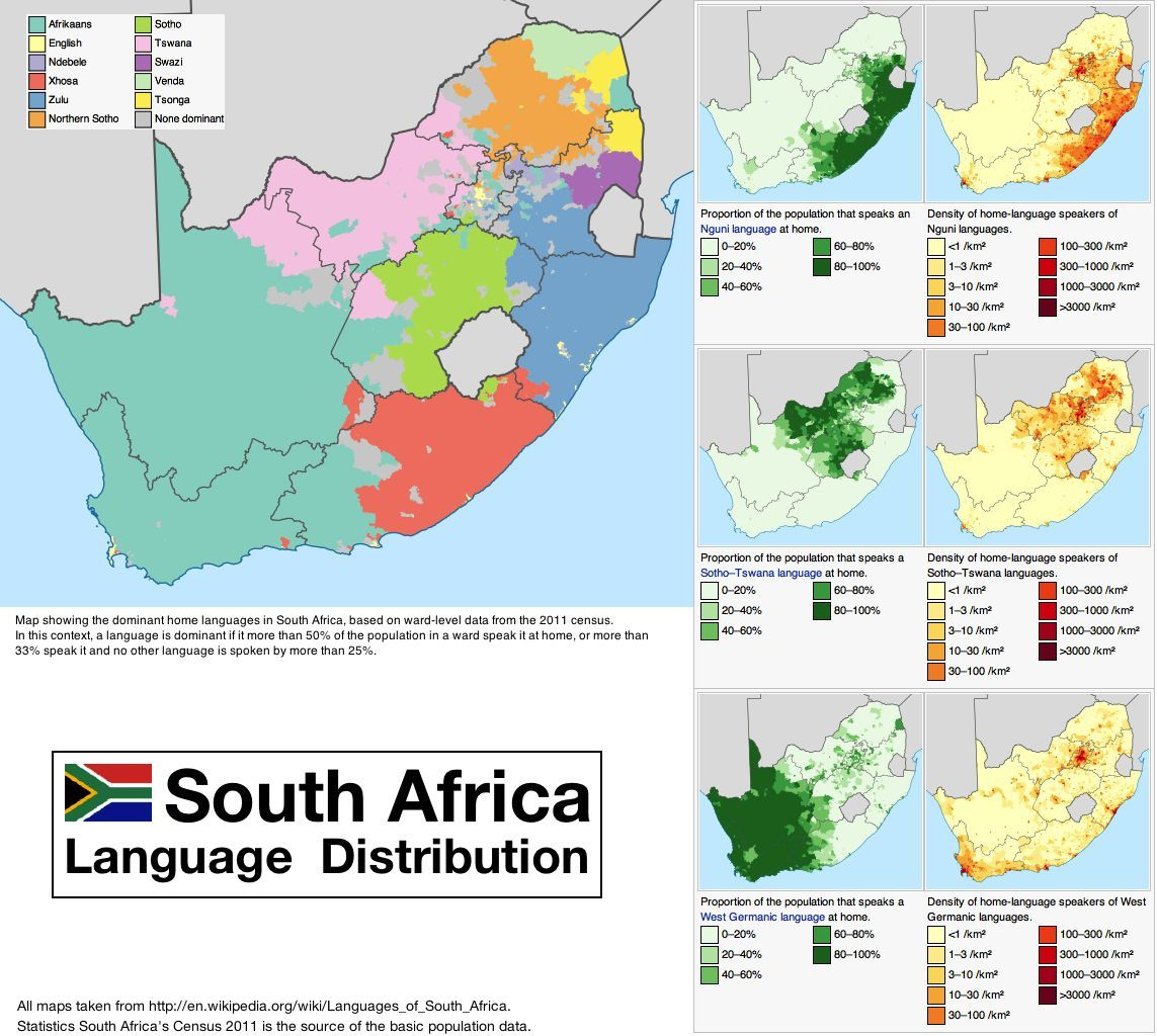 Language distribution in South Africa   a country with 11 official