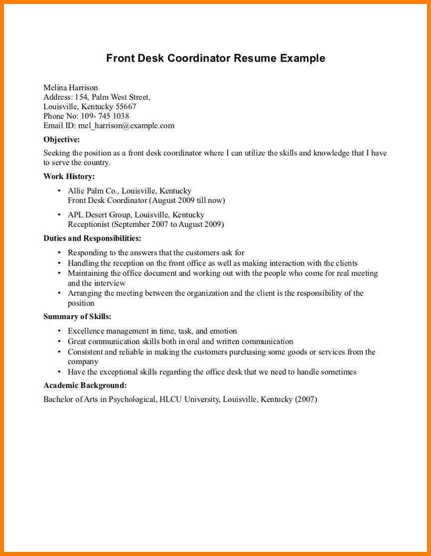 Front Desk Attendant Sample Resume Waitress Police Hospitality