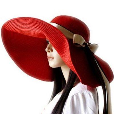 Lady Large Wide Brim Hat Floppy Ribbon Beach Hat Red Bridal Shower ... 4b5f8155c8f