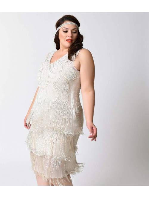 Unique Vintage Plus Size White Beaded Gigi Chiffon Fringe Flapper