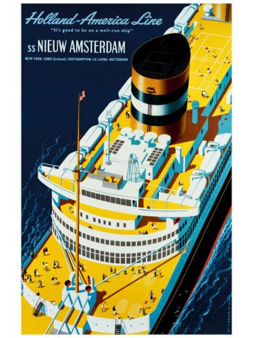 Vintage Travel Poster - Holland America Shipping Line