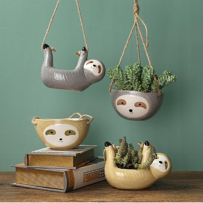 Sloth Succulent Plant Pot Planter Gift Bonsai Cera