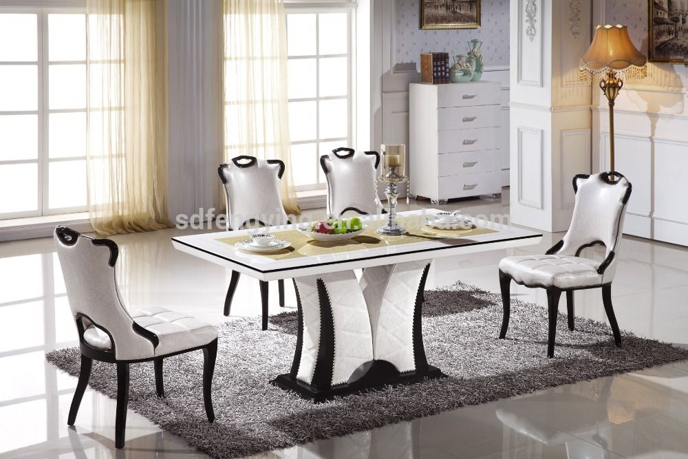 Italian Modern Marble Dining Tables Set View Top Table