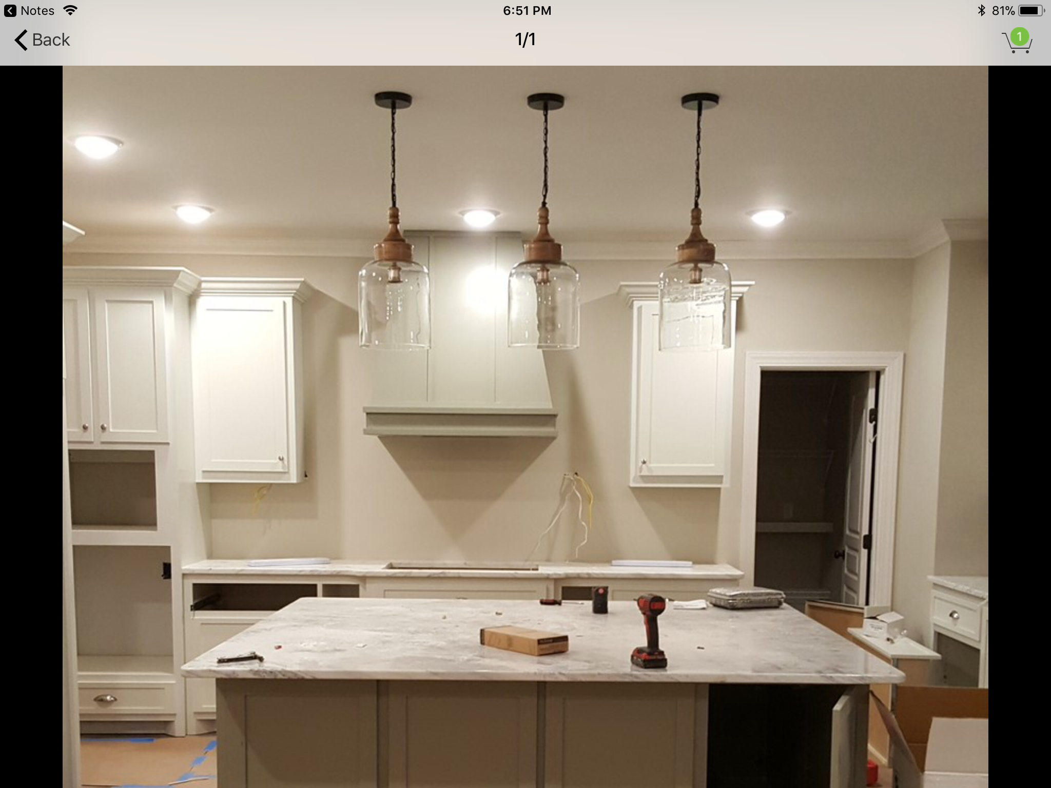 10 inch light over 6ft island Kitchen Pinterest