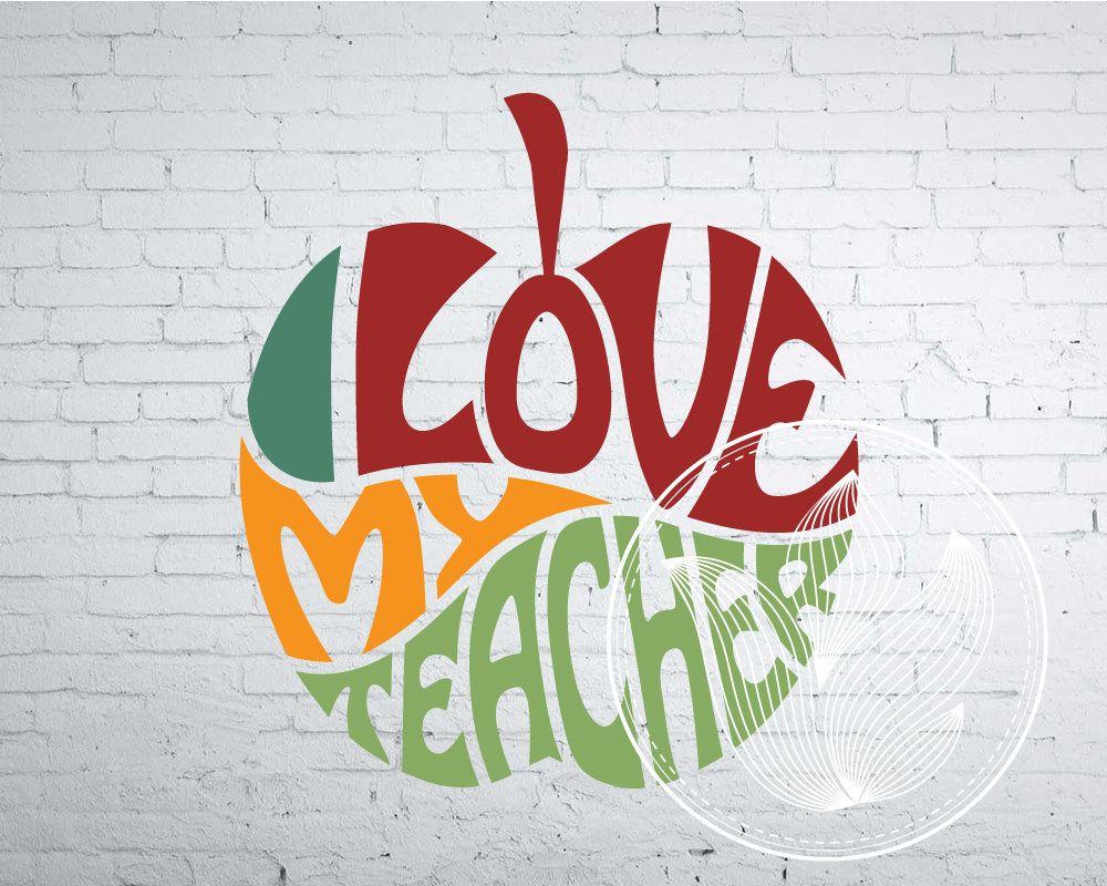 I love my teacher Apple design Word Art, I love my teacher