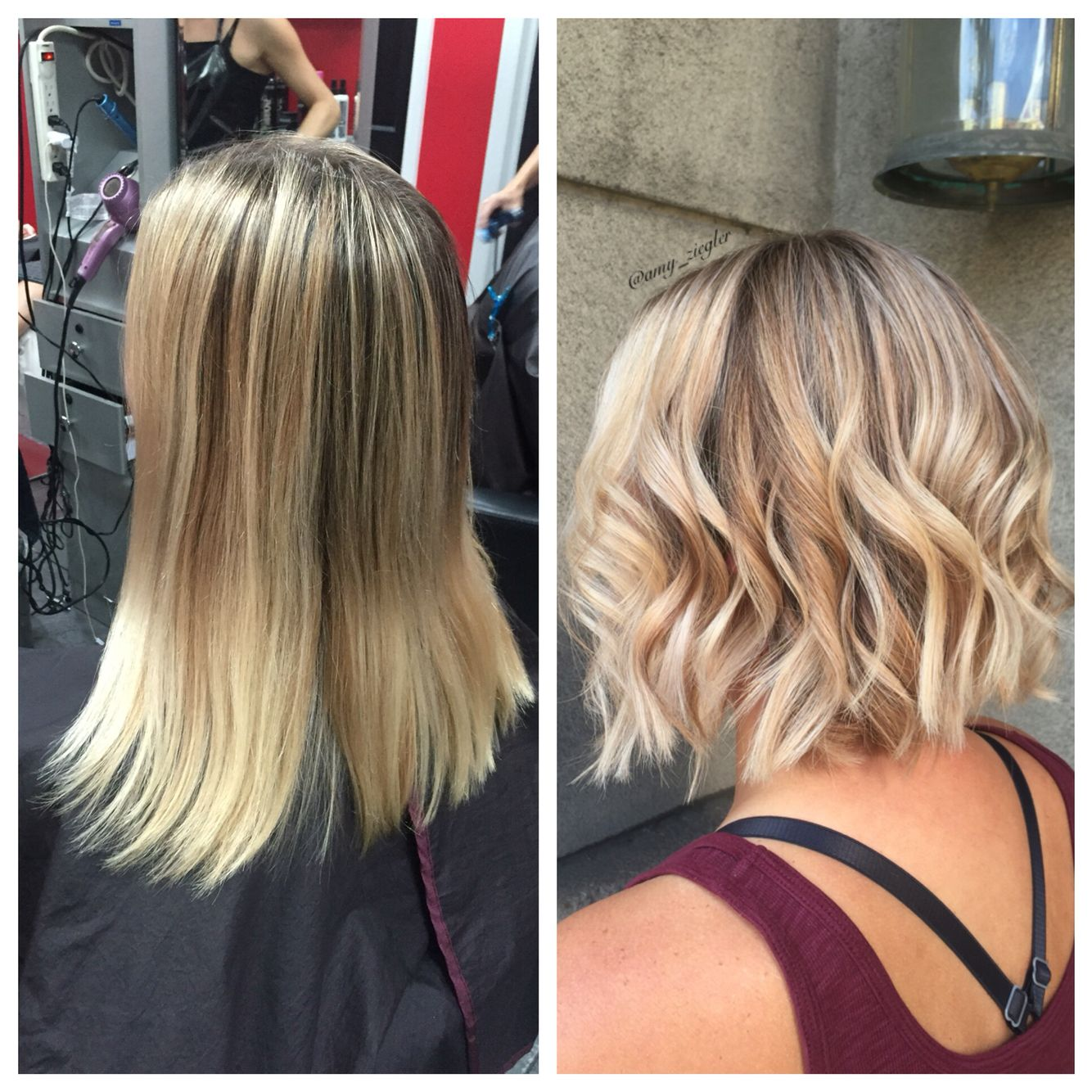 Before And After Blonde Highlight Bob Haircut By Amyziegler