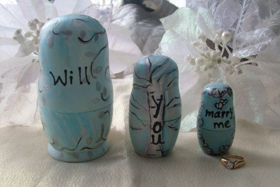Geek Wedding Gifts: Message Nesting Dolls Wedding Proposal By