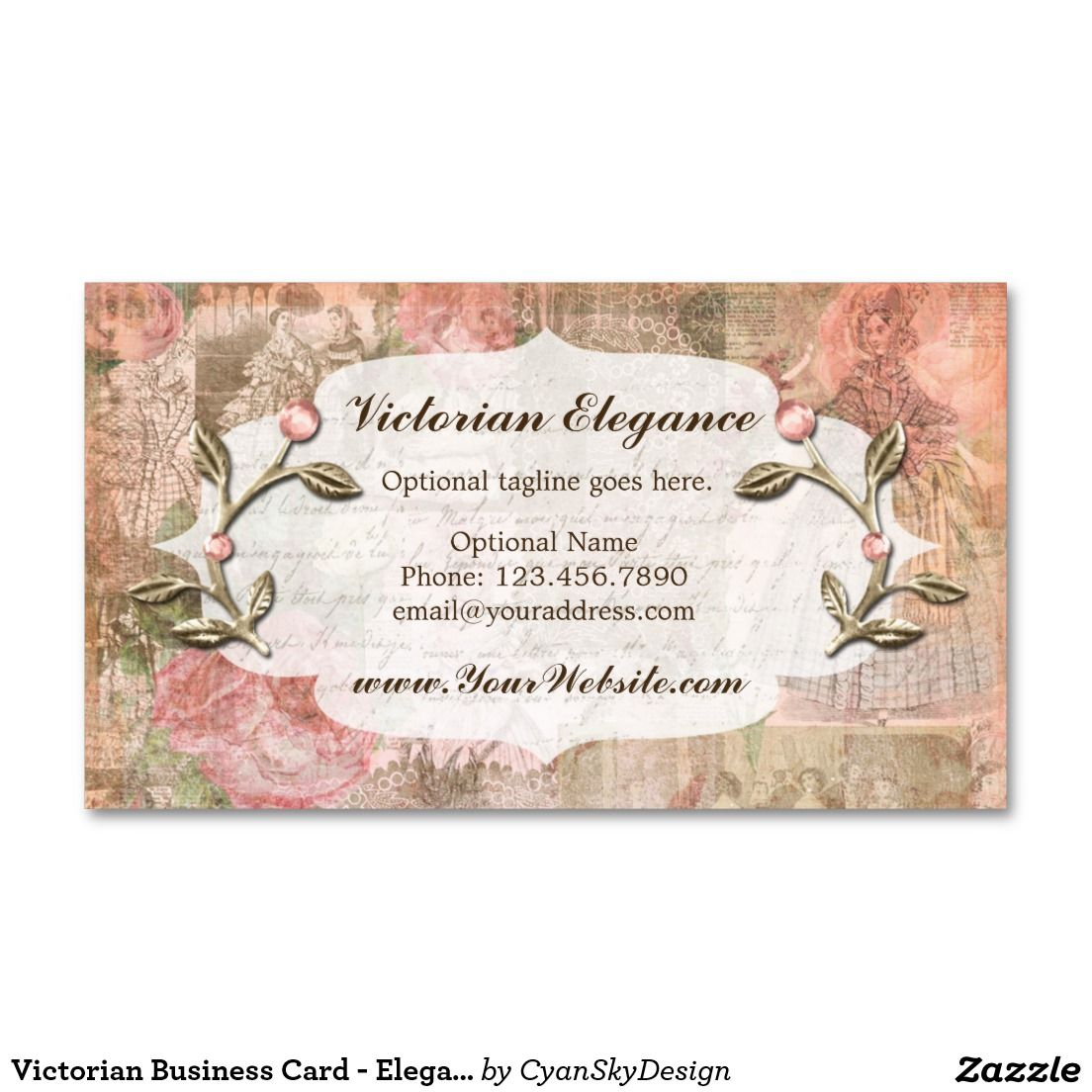 Victorian Business Card - Elegant Jewel Accents - #businesscard ...