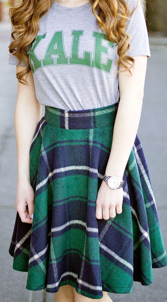92c1ef9f9a2 Preppy plaid skirt and a Kale shirt xoxoBella.com  target  sheinside