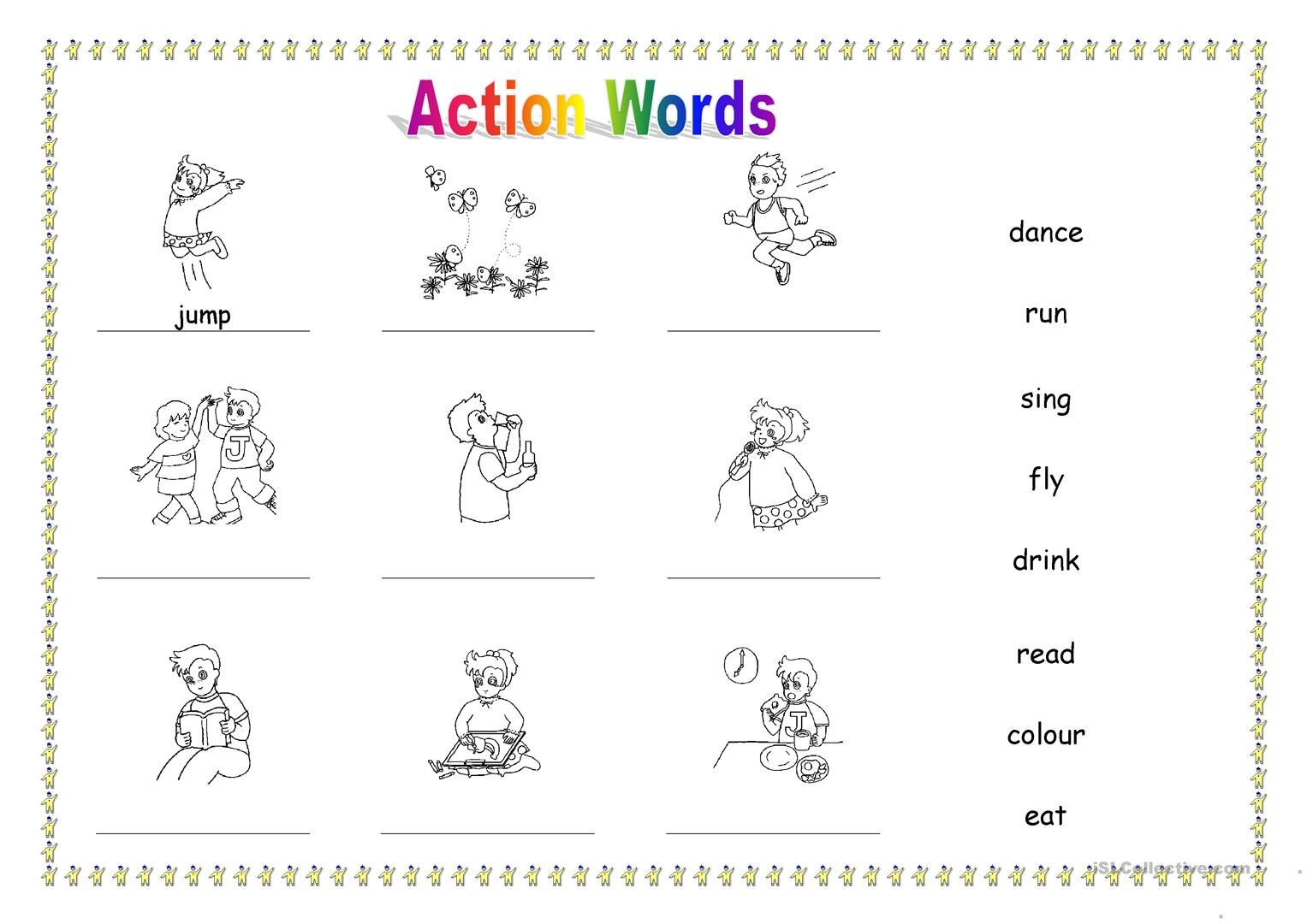 25 Free Esl Action Words Worksheets Printable For