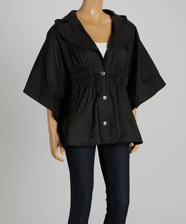 Another great find on #zulily! Black Button-Up Cape #zulilyfinds  Betsey Johnson