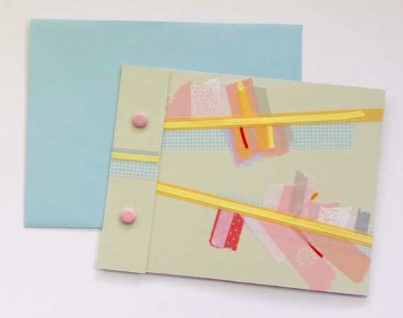Handmade Washi Tape Blank Card With Matching Envelope