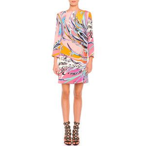 Emilio Pucci Long-Sleeve Feather-Print Cady Dress