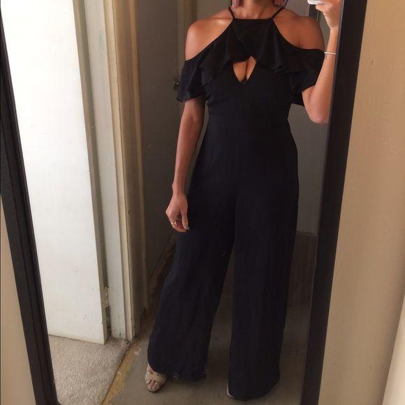 Sophia Off-Shoulder Jumpsuit Color: Black on trend off shoulder Wide leg jumpsuit price firm Pants Jumpsuits & Rompers