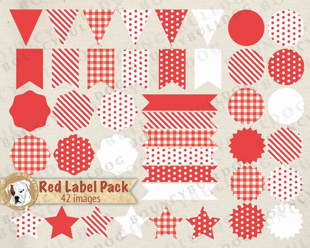 New! Red label clipart vector polkadot striped eps