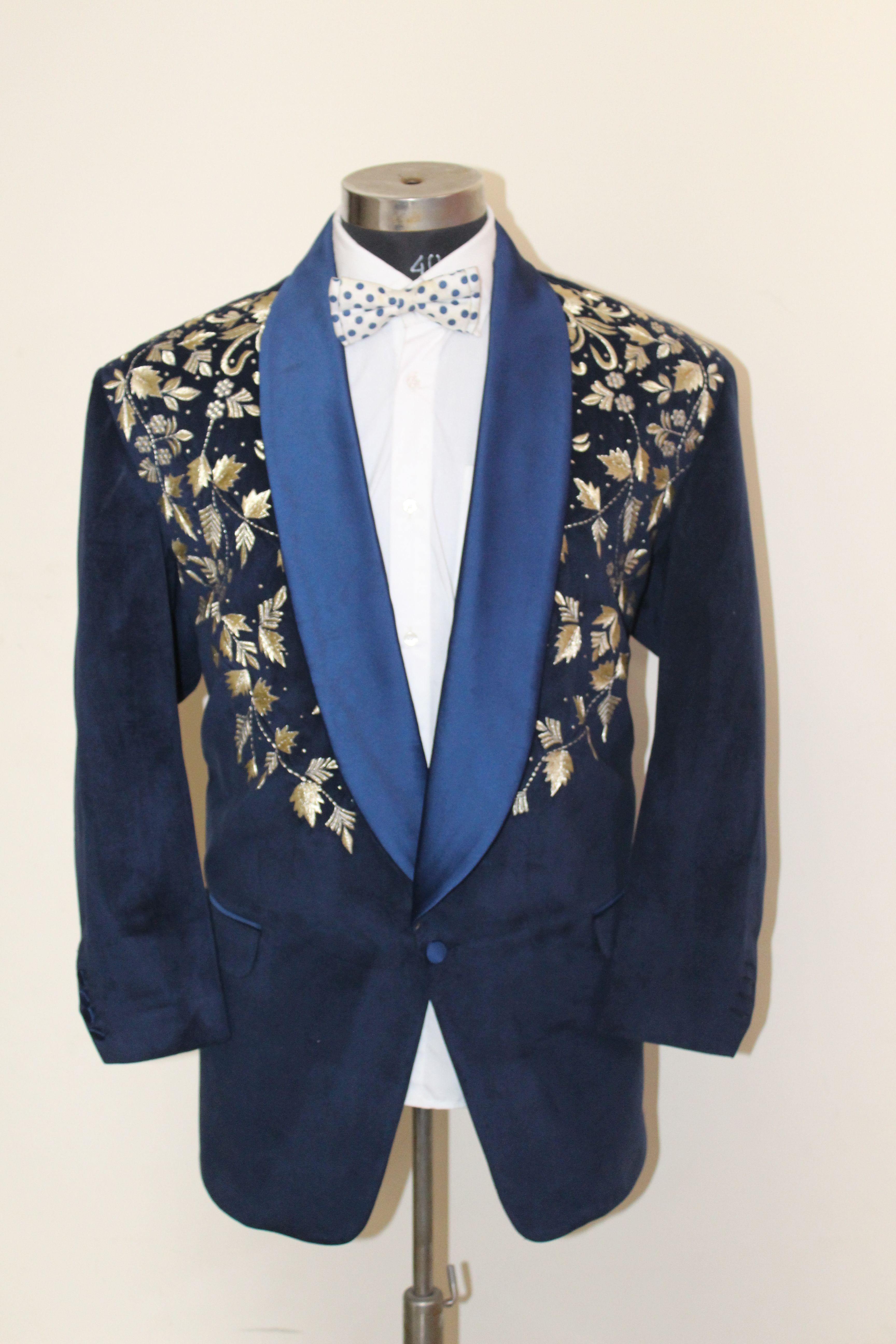 A Blue Fine Velvet Tuxedo Jacket with Gold Work ...