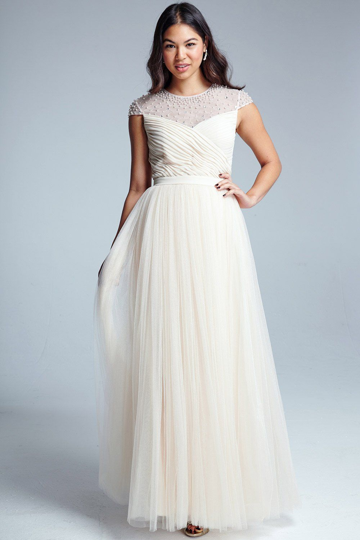 Little Mistress Nude Beaded Maxi Dress | Wedding dresses etc ...