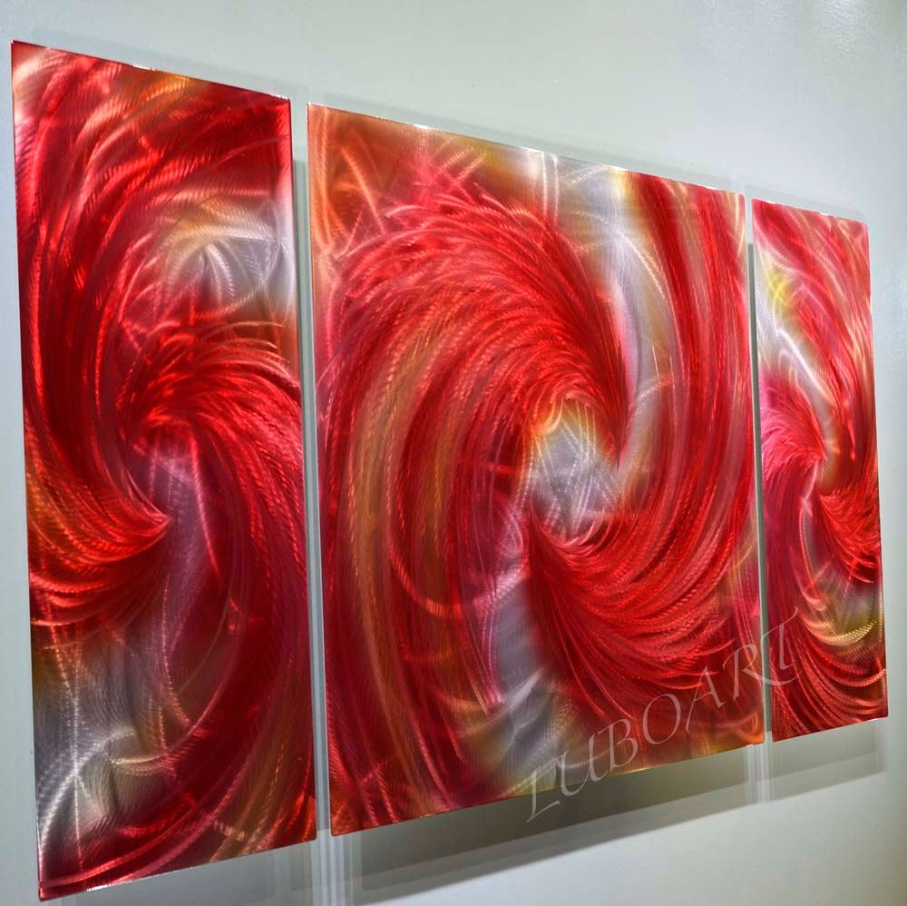 Red Metal Art Wall Decor Abstract Painting Metal Art Red Shiny 3D Illusion Effect Original