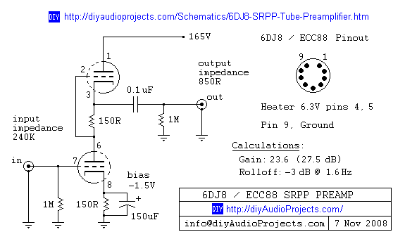 6dj8 Ecc88 Srpp Tube Preamplifier Schematic