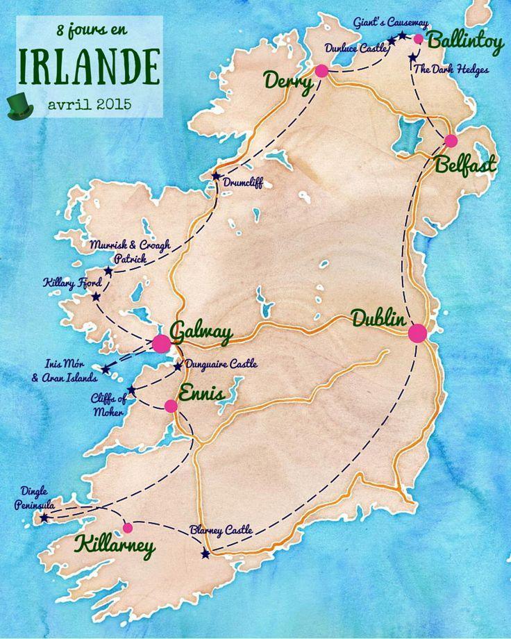 Itineraire Voyage Irlande Ireland Irland Irland Karte Und