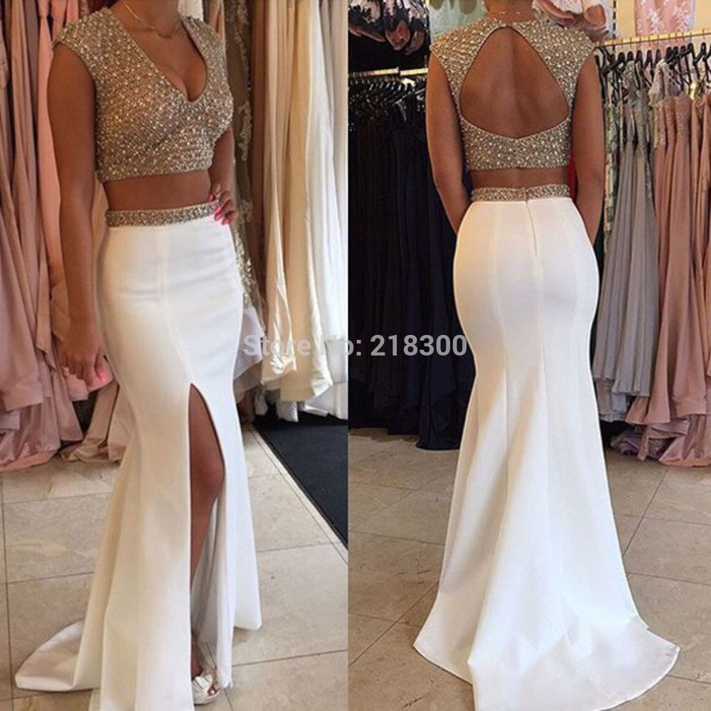 Click to Buy    Two piece prom dresses white beaded sparkly prom dresses 205938816a2f