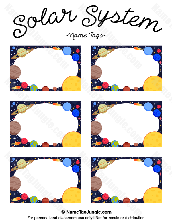 Free Printable Solar System Name Tags The Template Can Also Be