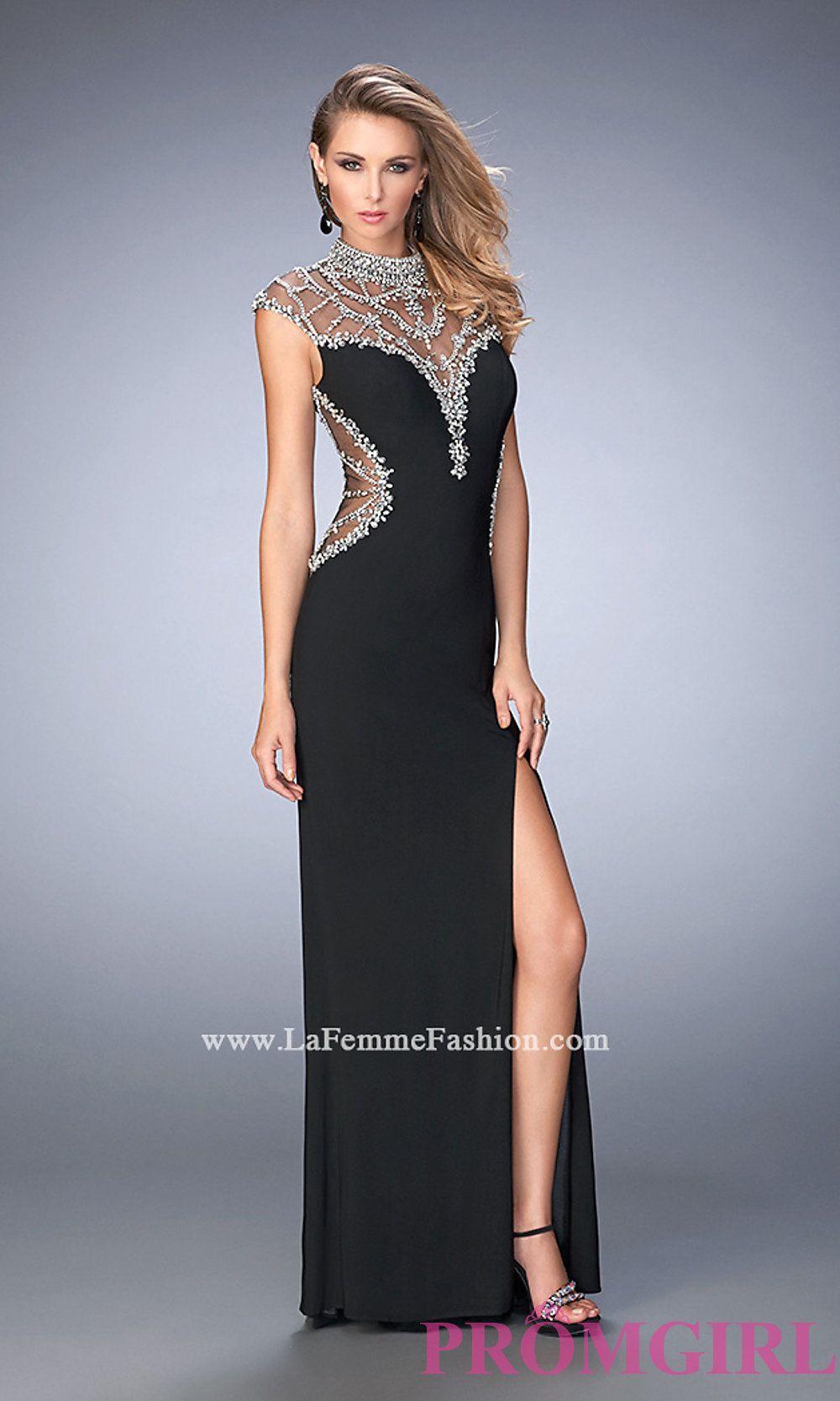 Sheer Back Long Gigi Cap Sleeve Prom Dress Style: LF-22776 | Prom ...