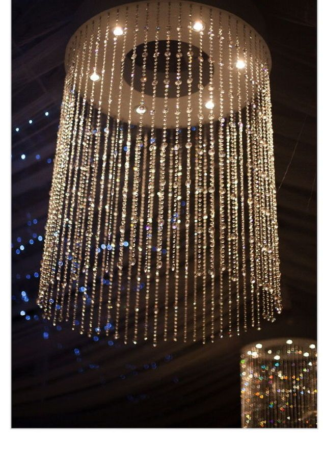 Swarovski style chandelier diy lampshades and lighting pinterest swarovski style chandelier diy diy how to lighting pot lights mounted into the base of the wooden frame shine on the gem strings for a glittery display aloadofball Gallery
