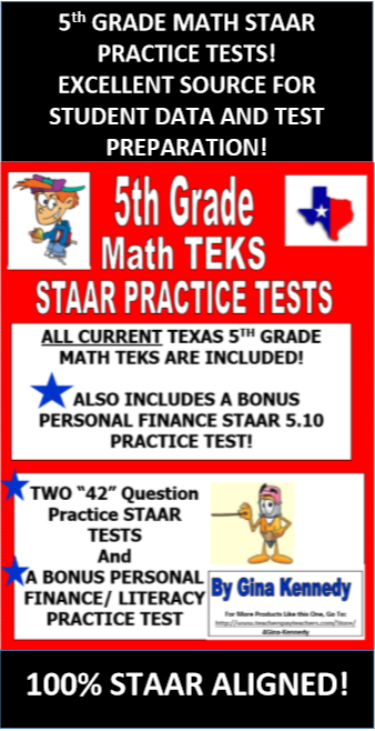 GREAT PREPARATION FOR THE TEXAS 5TH GRADE MATH STAAR EXAM! I have