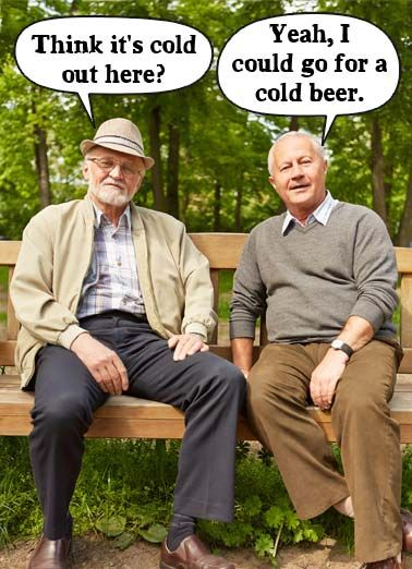 Hear Funny Birthday Card Two Old Men Sitting On A Bench Talking And Mishearing Each Other