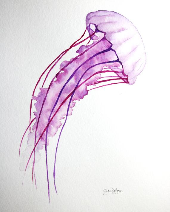 2e07dcce2 Purple Jellyfish Watercolor Painting Jellyfish Drawing, Watercolor Sea, Watercolor  Tattoo, Watercolor Paintings,