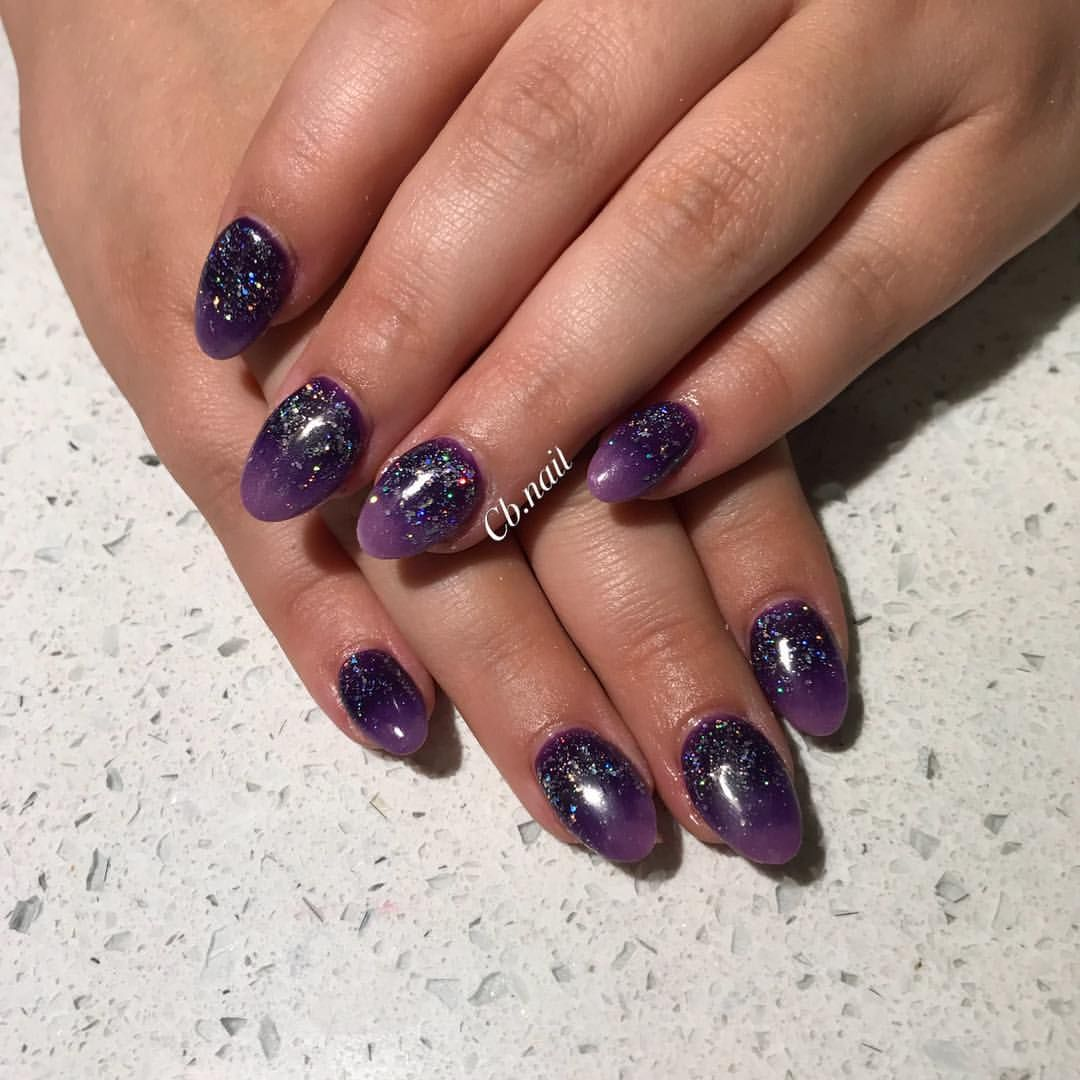 Acrylic Nails Short Nails Oval Nails Glitter Nails Ombre Nails Purple Nails Dark Nails Halloween Nails Beauty Hacks Nails Purple Nails Dark Purple Nails