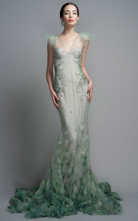 mermaid-green-trumpet-dress - Once Wed | Beautiful, Green dress ...