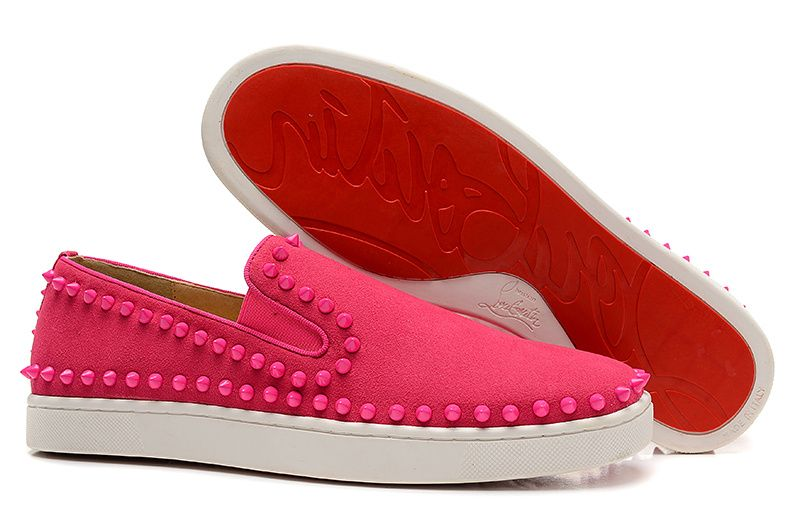 Christian Louboutin Pik Boat Spikes Suede Sneakers Rose Red