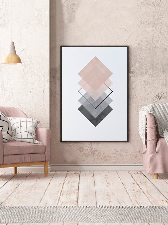Minimalist art print pink and grey square prints wall decor home geometric design also rh pinterest