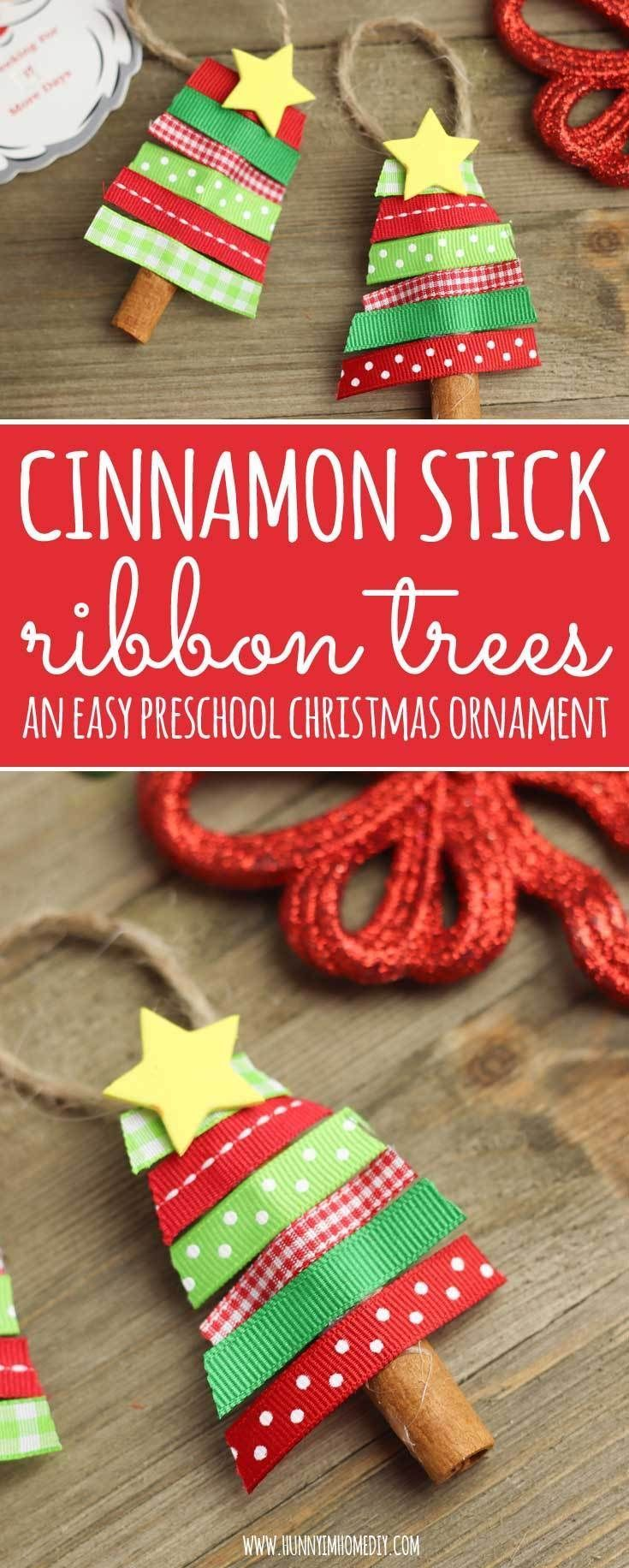 Zimtstange Band Baume Einfache Vorschulweihnachtsverzierungen Baume Einfache Preschool Christmas Ornaments Preschool Christmas Crafts Preschool Christmas