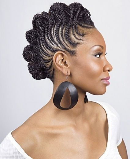 Elegant Mohawk with Cornrows and Senegalese twists!