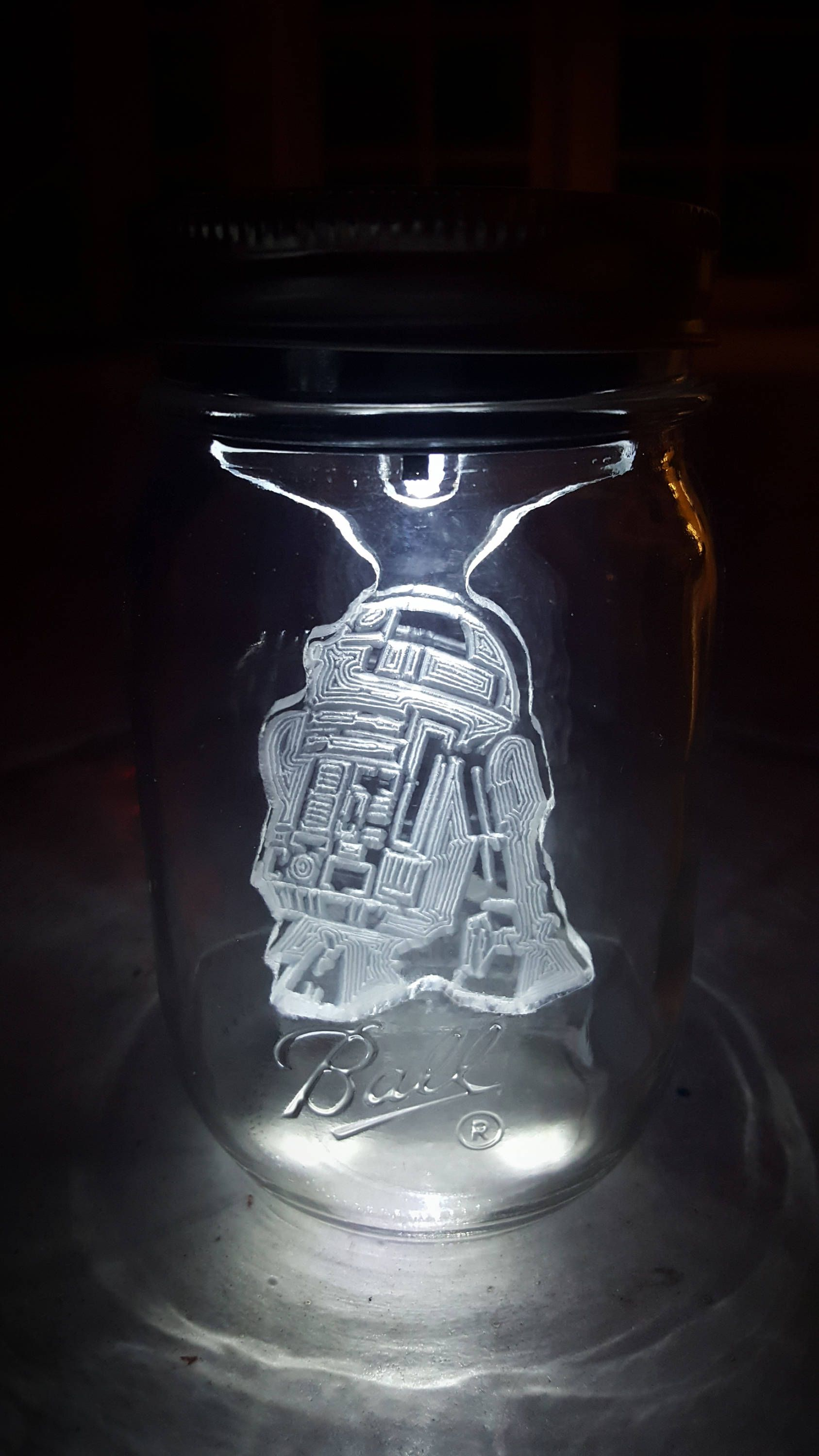 Sol Lights R2d2 Star Wars Mason Jar Solar Light Force Awakens Night Outdoor Indoor Decoration Etched Acrylic Droid By Hexinc On Etsy