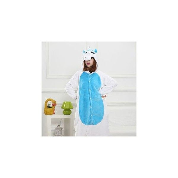 Unicorn One-Piece Pajama ($27) ❤ liked on Polyvore featuring intimates, sleepwear, pajamas, women, flannel pajamas, flannel pyjamas, unicorn pajamas, blue pajamas and flannel pjs