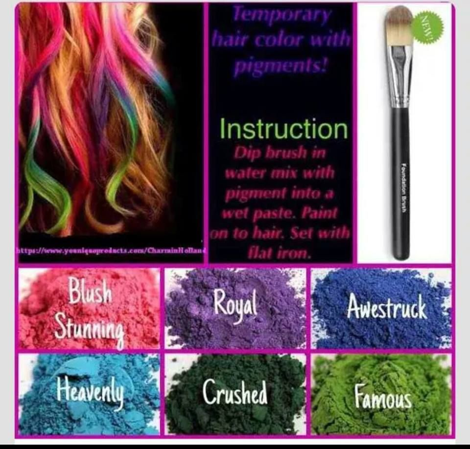 Younique Mineral Pigments As Temporary Hair Color Chalk Your Hair Even Works On Dark Hair Great For Kids Temporary Hair Color Younique Pigments Hair Color