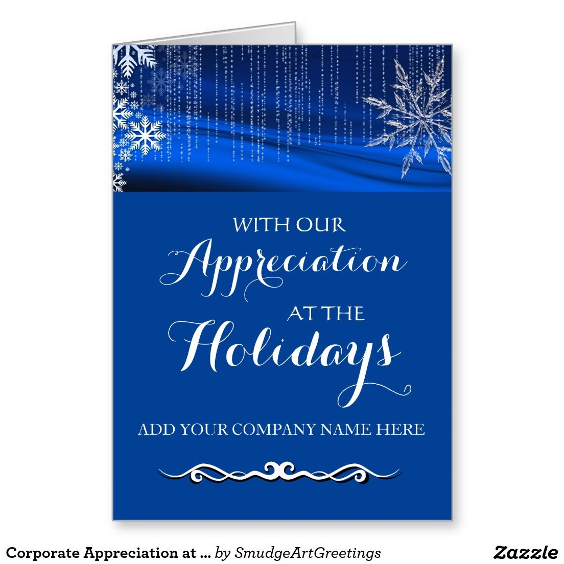 Corporate Appreciation At The Holidays Snowflakes Holiday Card