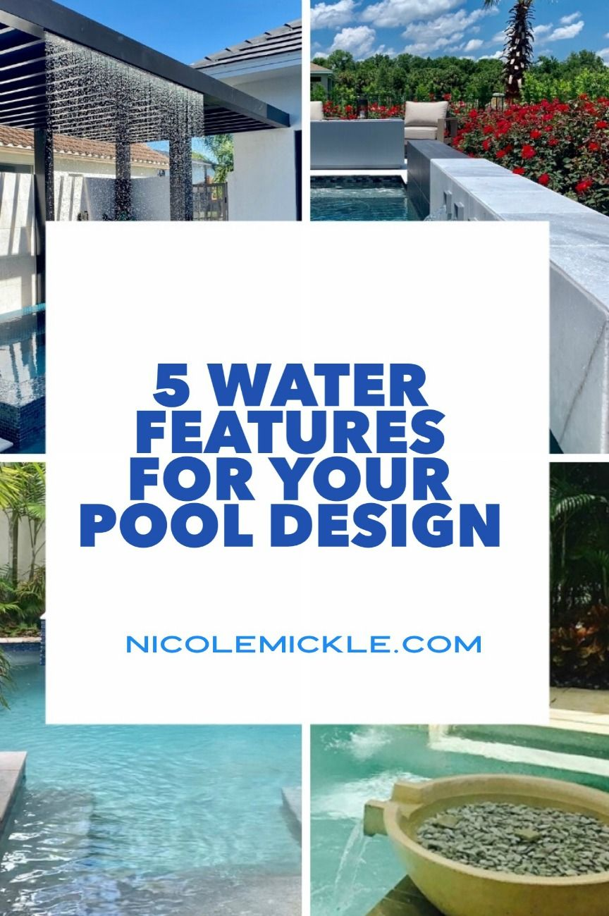 """You're not just """"putting in a pool"""". You're creating a backyard oasis. Take a look at these 5 Amazing Water Features for your Pool ideas for your backyard to get inspired for your outdoor spaces. This is how you live the outdoor life in Orlando! #pools #outdoorspaces #realestate"""