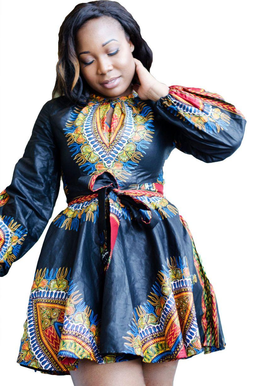 Long Sleeve African Print Belted Plus Size Dressprint