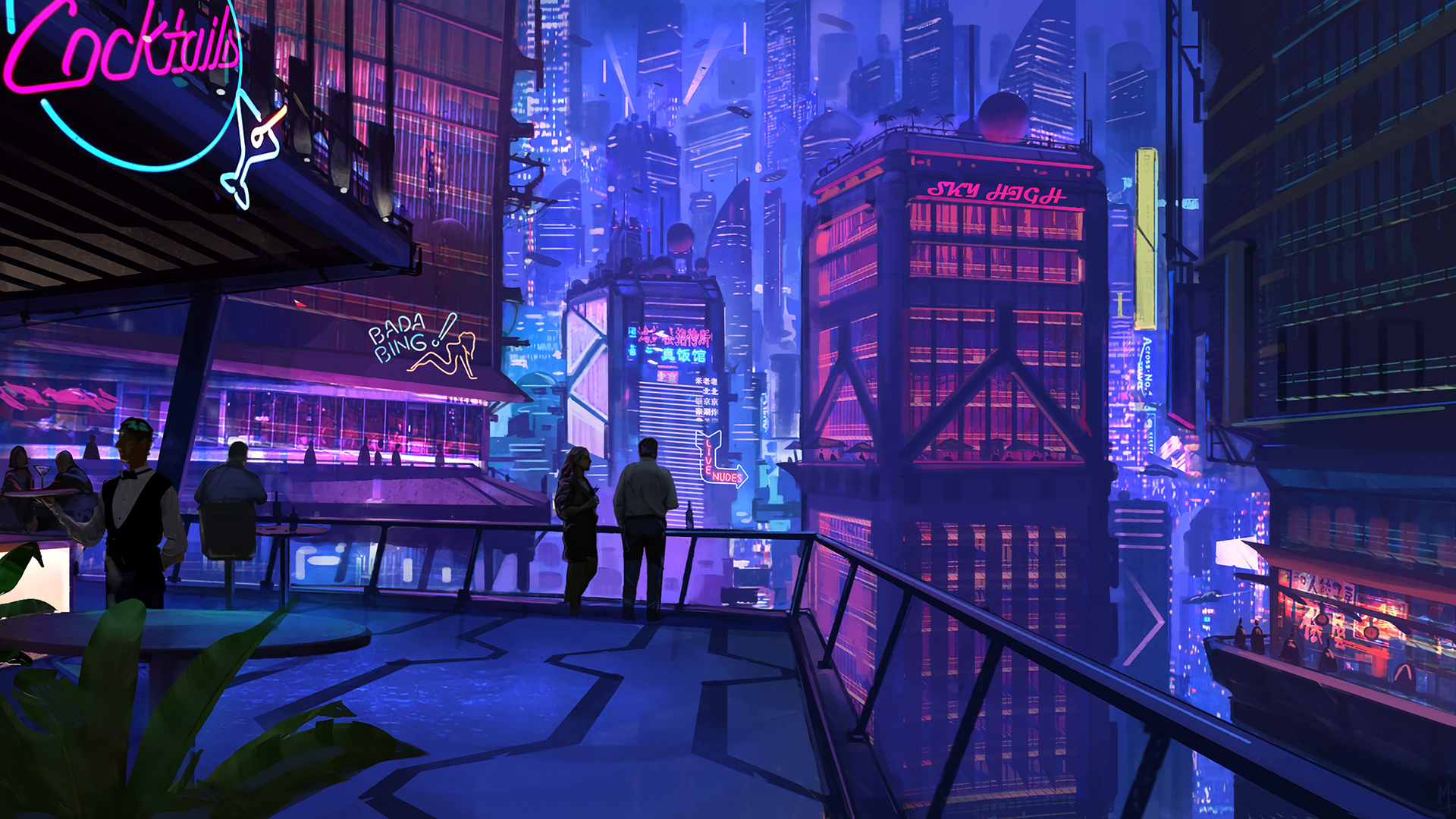 General 1920x1080 digital art cityscape cyberpunk