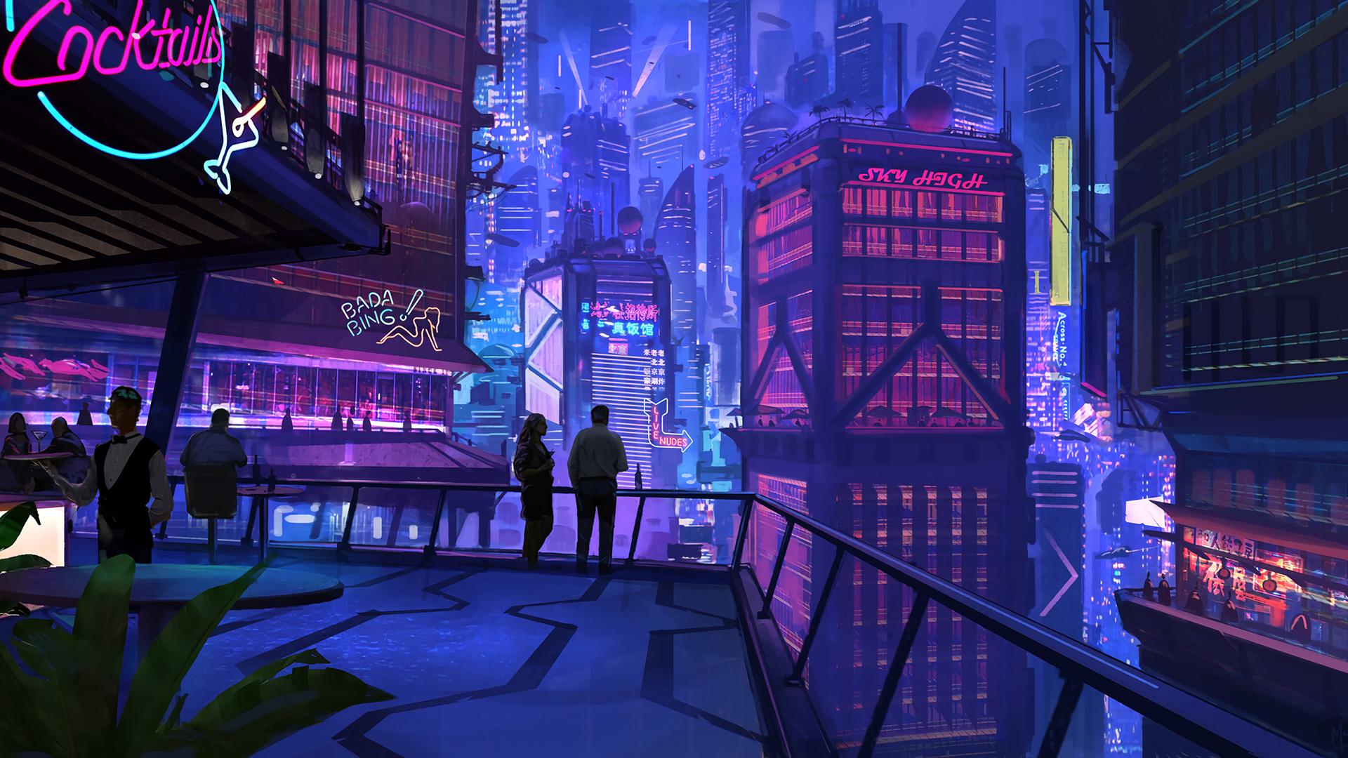 General 1920x1080 Digital Art Cityscape Cyberpunk Cyberpunk City Sci Fi City Futuristic City